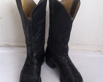 Black men's boots real leather genuine and worn leather vintage style western boots cowboy old boots retro country style boots has size-10D.