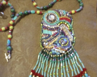 Bead mosaic fringed necklace