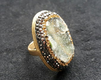 Druzy Ring, gold plated, natural druzy, Ottoman ring, Turkish ring, One of  a  kind, Gift for women, Grandbazaar