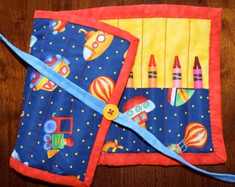 Automobile Crayon Holder, Crayon Roll, Crayon Tote, Blue, Boat, Submarine, Train, Bus, Crayon Roll Up, Quilted Crayon Roll Up, Handmade