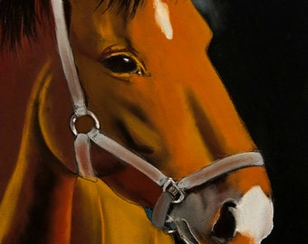 Beautiful horse.Instant download.JPG and TIFF files for printing an original pastel painting.