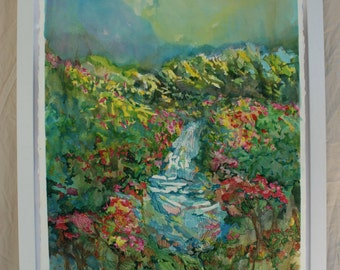 Mixed Media Watercolor Landscape: blooming stream in spring