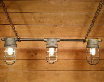 "Vintage Industrial ""Crouse Hinds"" Explosion Proof Light Fixture w/ Cages"