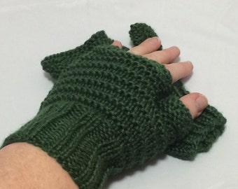 Fingerless driving gloves in hunter green #1020