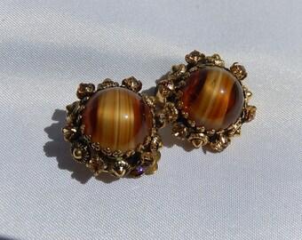 Old golden ear loop, rhinestones, Tiger Eye