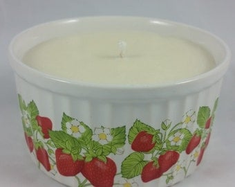Strawberry Tart Candle Upcycled
