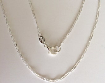 "Sterling Silver Chain, 16 ""Singapore Chain 1.4mm, Sterling Silver Necklace Chain"