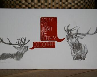 Deer Illustration Print - Human League Pun
