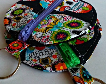 Sugar Skulls Earbuds Holder - Geek Coin Purse - Choose from Two - Key Ring - Detachable - Small Gift - Fully Lined - OOAK - Custom Made