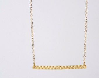 Necklace June, bar gold plated 24 k
