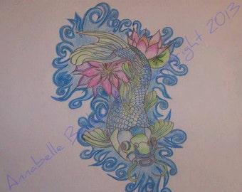 Prisma color drawing of a koi fish