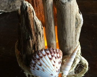 Driftwood wrapped around flameless candle. BEAUTIFUL!