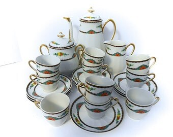 Limoges Porcelain Art Deco French Vintage Coffee Service for 10 (1406 452)