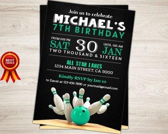 Bowling Invitation. Bowling Party. Bowling Birthday. Mint Printable Bowling Boy Birthday Invitation. Sports Birthday invite Bowling Alley
