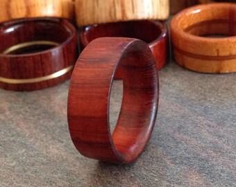 padoauk wood ring.Natural finish,