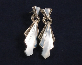 Mother of Pearl, Marcasite and sterling silver earrings