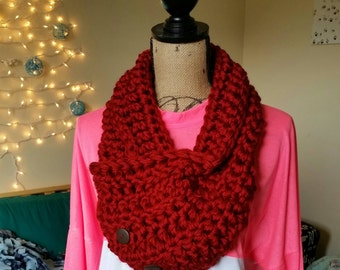 Red Crochet Scarf/Cowl