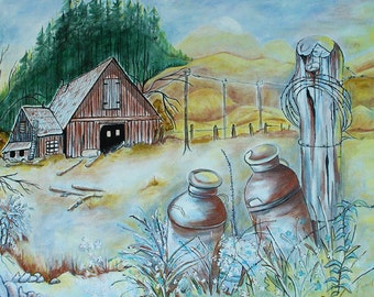 Prairie Scene: a subtle and calm acrylic painting of a farm scene with milk cans in the foreground with trees and a fence