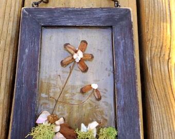 Rustic Wall Decor, Suncatcher, Pine Cone Art, Flowers