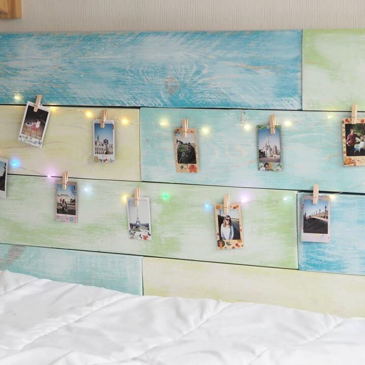 led guirlande lumineuse avec 10 clips en bois pour afficher. Black Bedroom Furniture Sets. Home Design Ideas