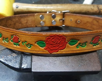 Leather Dog Collar, 1 inch wide, Roses, Dog Collar, Custom made. Personalized