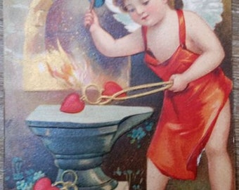 Antique Victorian Era Cupid Valentine Postcard Made in Berlin Germany
