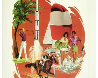 Vintage Florida Delta Airlines Travel Poster Print