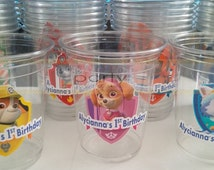 Paw Patrol Birthday Personalized Party Drink Cups with Lids & Straws, Paw Patrol Party Supplies (7pc)