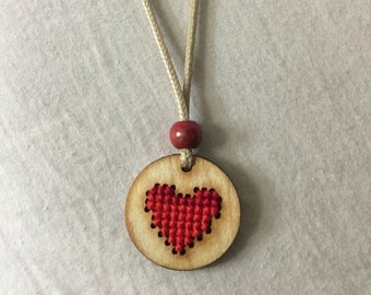 Cross Stitched Heart Shape Necklace