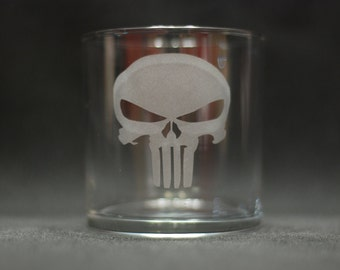 The Punisher Etched Drinking Glass