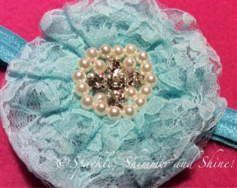 Blue Lace Embellished Elastic Flower