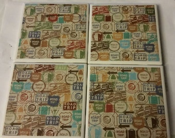Road Trip tile coasters