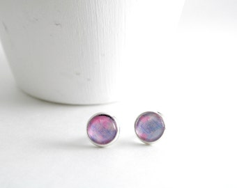 Tiny Pastel Earrings Studs, Glass Earrings, Circle Earrings, Pastel Earrings, Small Silver Circle Studs, Bridesmaid, Gift, Wedding