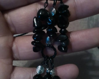 Black Agate, braided rope necklace