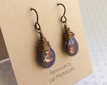 Wire wrapped purple and brass earrings