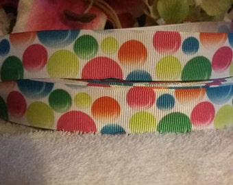 3 yards,  7/8' colorful bubbles design grosgrain ribbon
