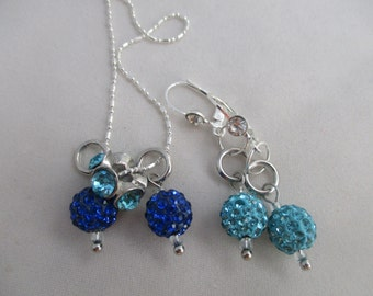 Pave Aqua and Sapphire necklace and earrings set
