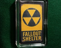 HandcraftedVintage Style Civil Defense Fallout Shelter  Heavy Lucite Paperweight. ..USA Only