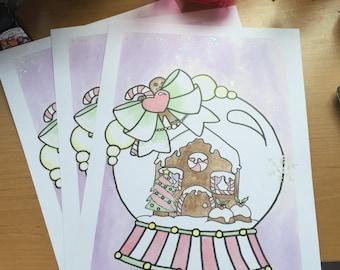 Gingerbread Snowglobe A4 Print