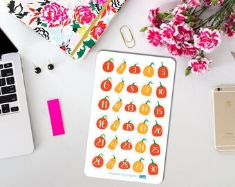 Halloween stickers, countdown stickers, Halloween calendar stickers, pumpkins, pumpkin countdown, halloween countdown