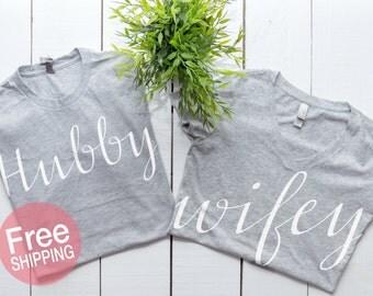 Hubby Wifey shirts, Wifey Hubby Shirts, Honeymoon shirts, Hubby Wifey t-shirt set,Couples Shirts Bride shirts, Groom Shirts  ©