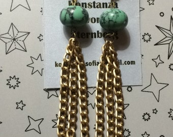 Turquoise dangling gold chain