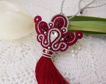 Soutache pendant with tassel Soutache necklace Soutache jewelry Long pendant Tassel necklace Red silver Tassel pendant Long pendant