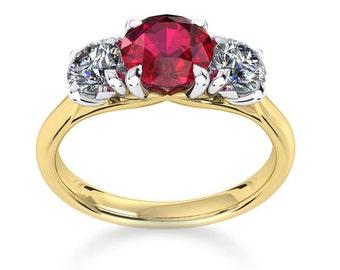 Ruby & Luxury Diamond's set in Gold Ring