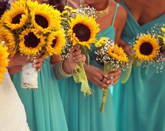 Wedding bouquet set! Sunflower bouquet, sunflowers, sunflower wedding bouquet! Complete set with sunflower boutonnières!