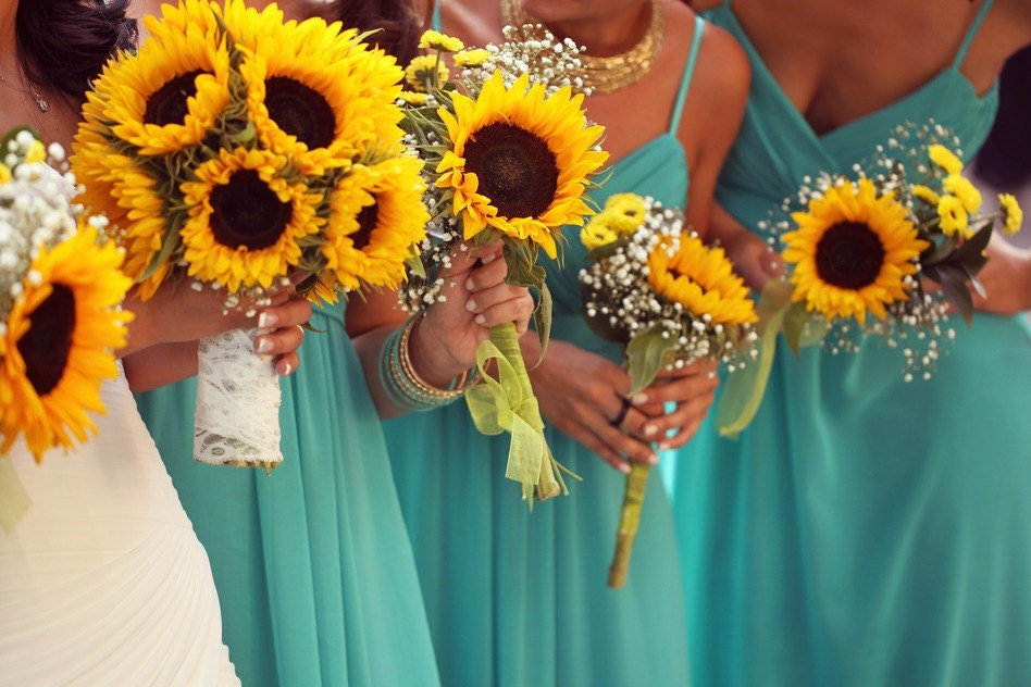 Bridesmaid Bouquets Sunflowers : Wedding bouquet set sunflower sunflowers