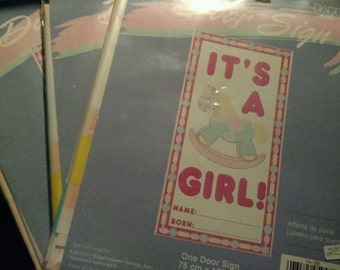 3 New It's a girl! Door decorations Birth 30 x 60 Rocking Horse