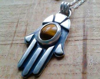 Handmade Sterling silver Hamsa Necklace / Silver Hamsa pendant / Hand of Fatima / Evil eye pendant / Evil Eye necklace / Protective Amulet.