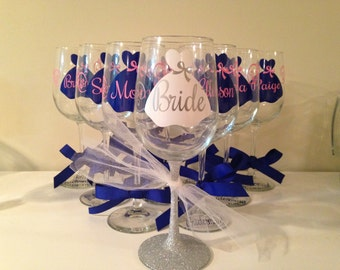 Seven - Bridal Party - Glasses - Bridesmaids - Gifts - wine glasses - Wedding - Personalized - Custom -