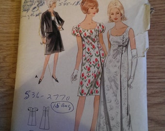 1960s Vintage Sewing Pattern Dress and Jacket
